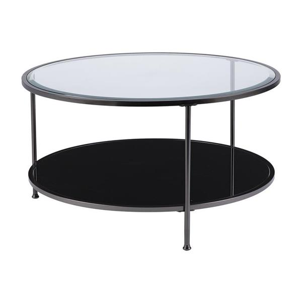 Boston Loft Furnishings Riku 33.78-in x 18.25-in Matte Black Frame And Clear Glass Top Round Cocktail Table