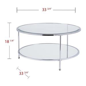 Boston Loft Furnishings Riku 33.78-in x 18.25-in Chrome Frame And Clear Glass Top Round Cocktail Table