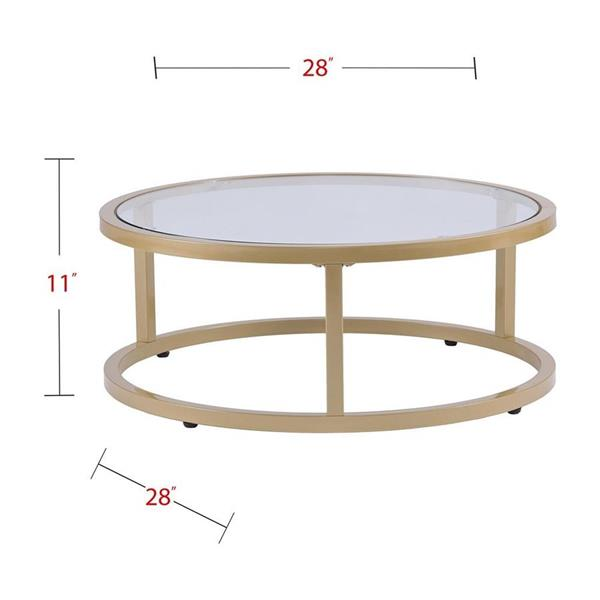 Boston Loft Furnishings Ester 35.5-in x 14.75-in Gold Frame and Glass Top 2-Piece Nesting Coffee Table