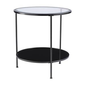 Boston Loft Furnishings Riku 24.25-in x 24.25-in x 26.25-in Matte Black Round End Table