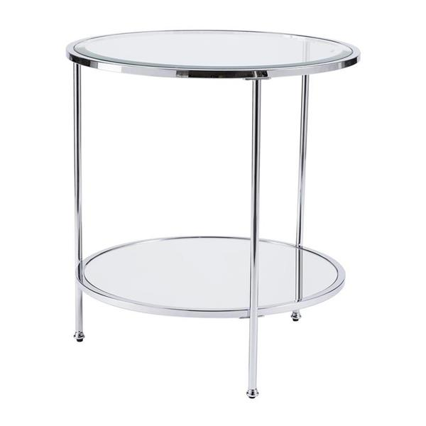 Boston Loft Furnishings Riku 24.25-in x 24.25-in x 26.25-in Chrome Round End Table