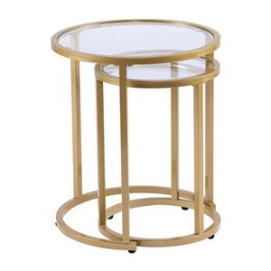 Boston Loft Furnishings Ester 19.5-in x 19.5-in x 23-in Gold 2-Piece Nesting Side Table Set