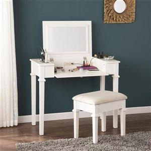 Boston Loft Furnishings 30.5-in x 36-in White Rinston Vanity Desk with Stool