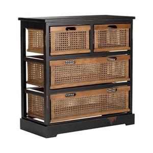 Safavieh Jackson Rectangular Black Wood Storage Console Table
