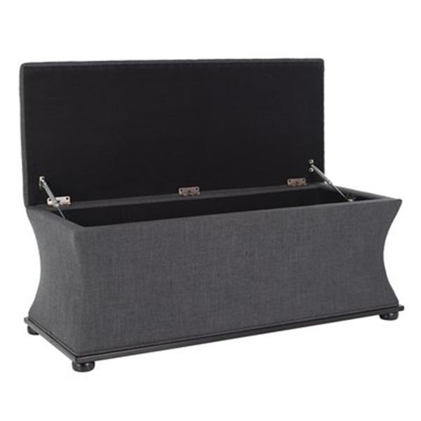 Safavieh Aurora 20.50-in x 36.20-in Gray Polyester Storage Bench