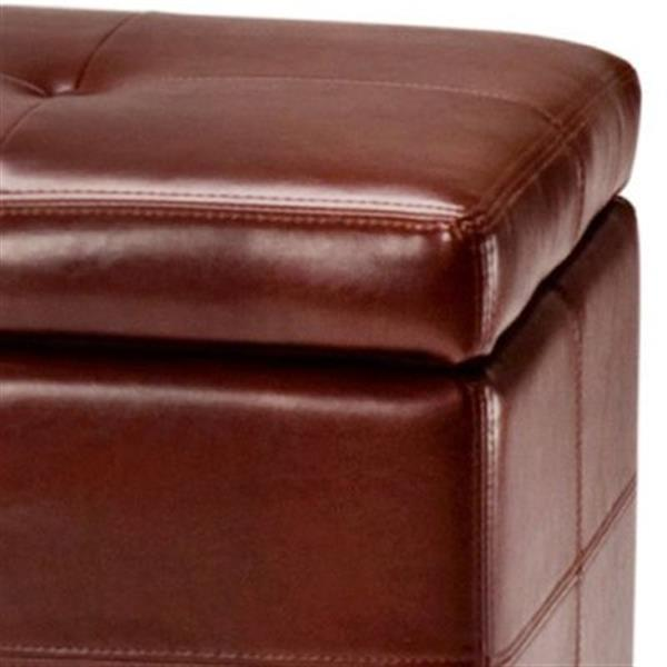 Safavieh Maiden Large 17.00-in x 40.00-in Cordovan Faux Leather Tufted Storage Bench
