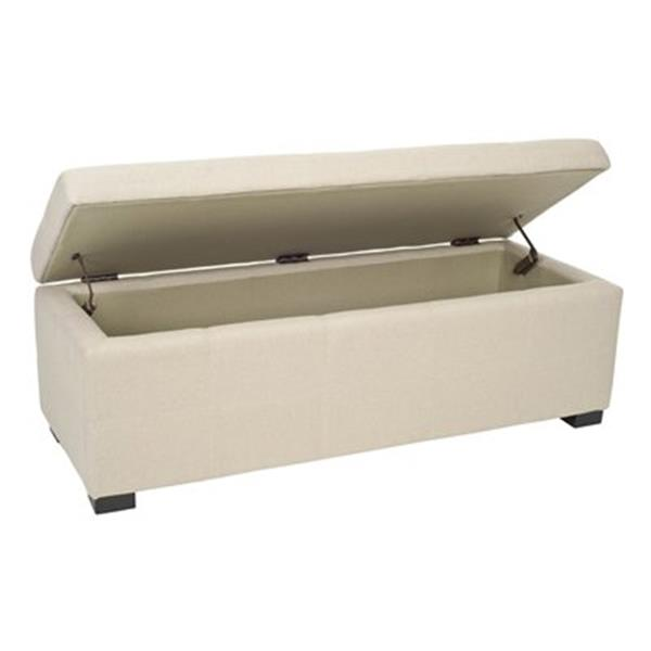 Safavieh Maiden Large 17.00-in x 40.00-in Cream Faux Leather Tufted Storage Bench