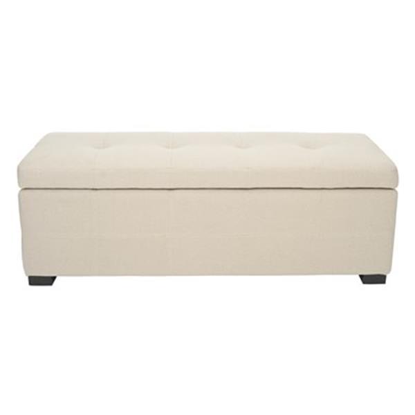 Safavieh Maiden Large 17.00-in x 40.00-in Beige Tufted Storage Bench