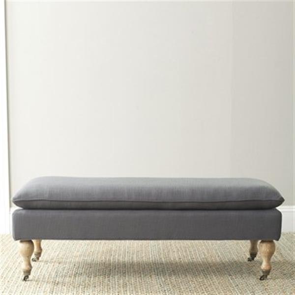 Safavieh Hampton 19.10-in x 51.80-in Steel Grey Pillow Top Indoor Accent Bench