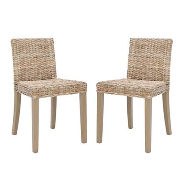 Safavieh Siesta 18.50-in Grey Wash Tulum Dining Chairs (Set of 2)