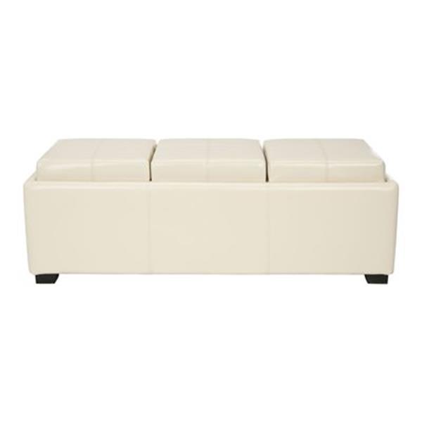 Safavieh Harrison 17.00-in x 47.00-in Cream Faux Leather Triple Tray Ottoman