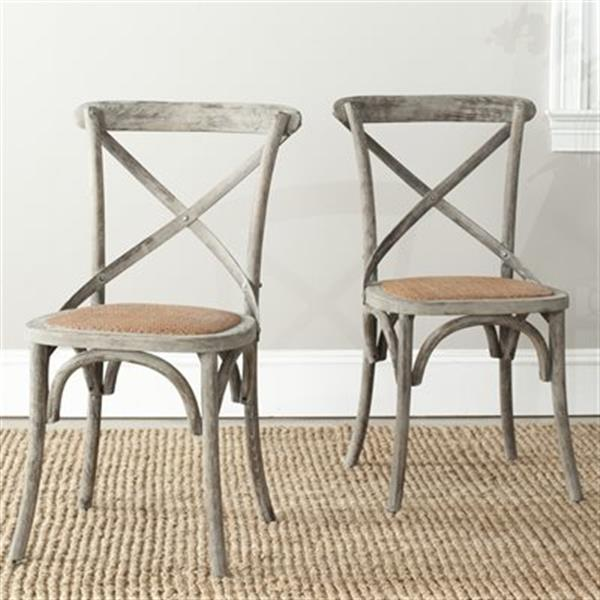 Safavieh Franklin 18.50-in Distressed Colonial Walnut X-Back Farmhouse Chairs (Set of 2)
