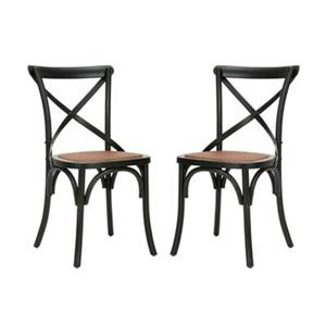 Safavieh Franklin 18.50-in Distressed Hickory X-Back Farmhouse Chairs (Set of 2)