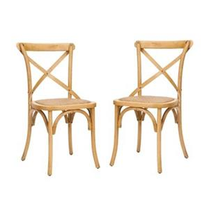 Safavieh Franklin 18.50-in Weathered Oak X-Back Farmhouse Chairs (Set of 2)