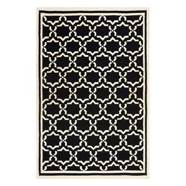 Safavieh Dhurries Black and Ivory Area Rug,DHU545L-8