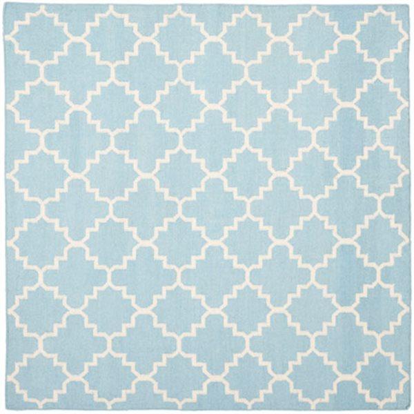 Safavieh Dhurries Light Blue and Ivory Area Rug,DHU554B-8SQ