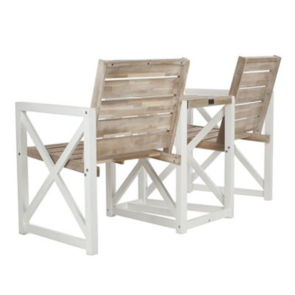 Safavieh Jovanna 33.5-in x 61.8-in White/Oak Two Seat Bench