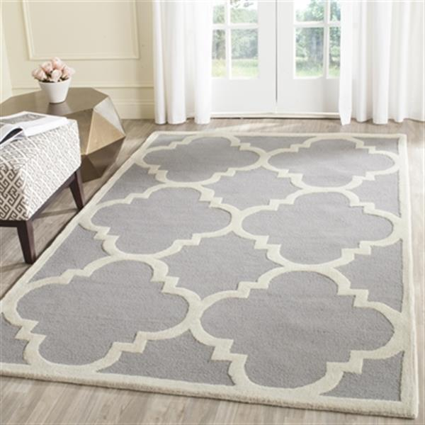 Safavieh Cambridge Silver and Ivory Area Rug,CAM140D-8SQ