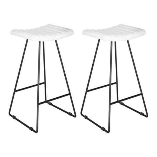 Safavieh Fox Akito 16.50-in x 30-in White Faux-Leather Bar Stools (Set of 2)