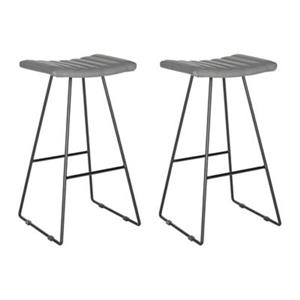 Safavieh Fox Akito 16.50-in x 30-in Grey Faux-Leather Bar Stools (Set of 2)