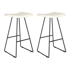 Safavieh Fox Akito 16.50-in x 30-in Cream Faux-Leather Bar Stools (Set of 2)