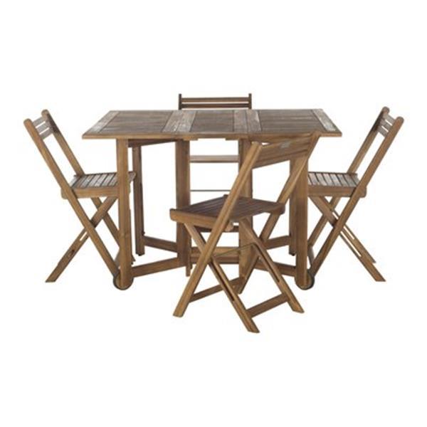 Safavieh Arvin Teak-look 5-Piece Outdoor Dining Set