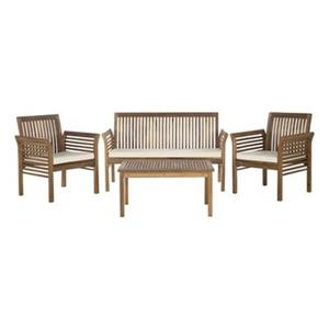 Safavieh Carson Grey 4-Piece Outdoor Conversation Set