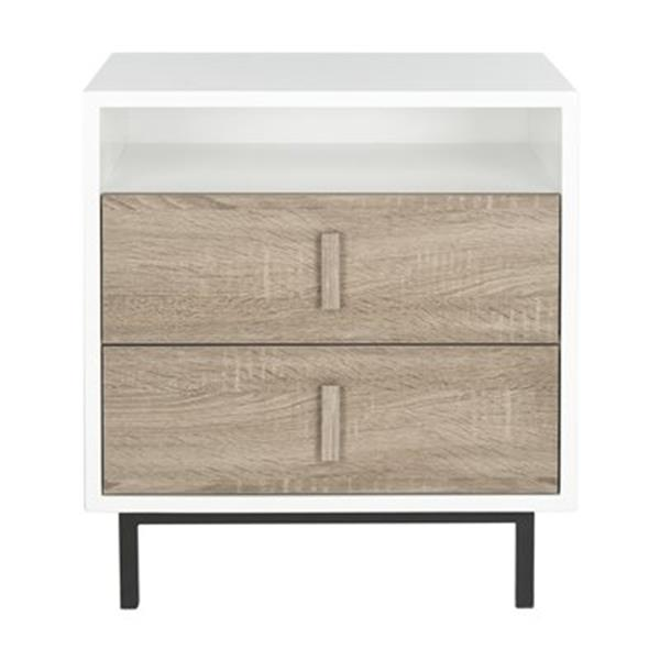 Safavieh Fox 23.6-in White/Oak Kefton Cabinet Table