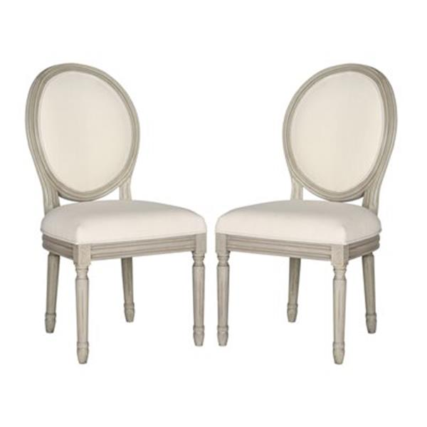 Safavieh Fox 19.75-in Light Beige Linen Holloway Oval Side Chairs (Set of 2)
