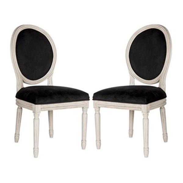 Safavieh Fox 19.75-in Black Velvet Holloway Oval Side Chairs (Set of 2)