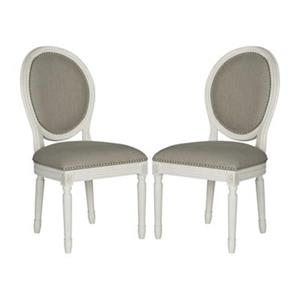 Safavieh Fox 19.75-in Cream Linen Holloway Oval Side Chairs With Nailheads (Set of 2)