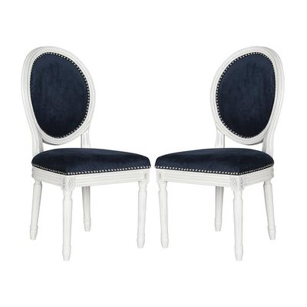 Safavieh Fox 19.75-in Navy Velvet Holloway Oval Side Chairs With Nailheads (Set of 2)