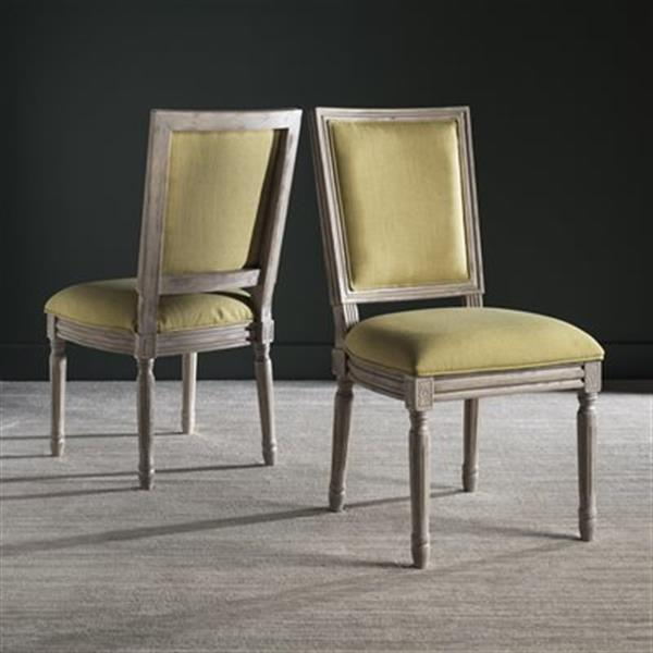 Safavieh Fox Buchanan 19.75-in Spring Green Linen And Rustic Grey Rectangular Side Chairs (Set of 2)