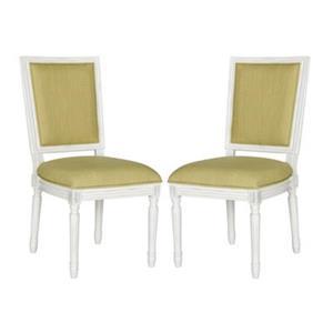 Safavieh Fox Buchanan 19.75-in Spring Green Linen And Cream Rectangular Side Chairs (Set of 2)