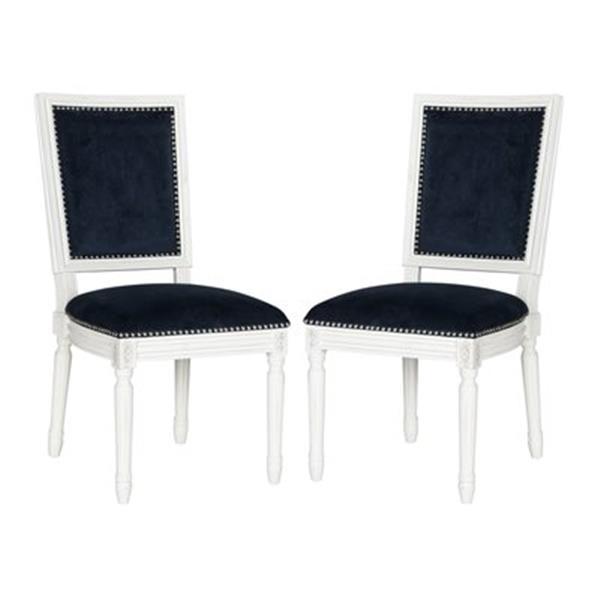 Safavieh Fox Buchanan 19.75-in Navy Velvet Rectangular Side Chairs With Nailheads (Set of 2)