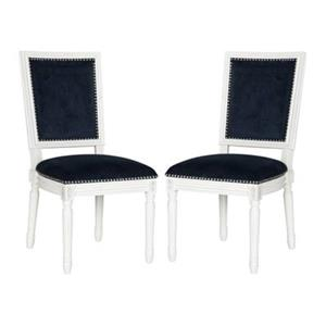 Safavieh Fox Buchanan 19.75-in Navy Velvet Rectangular Side Chairs With Nailheads (Set of 2)