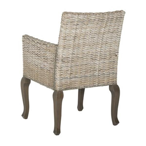 Safavieh Southeast Asia Armando 17.70-in Whitewashed Wicker Dining Chairs (Set of 2)