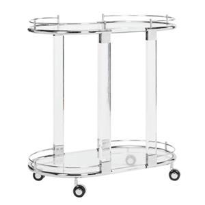 Safavieh Fox 29.53-in x 30.56-in Clear Acrylic Healy Kitchen Cart