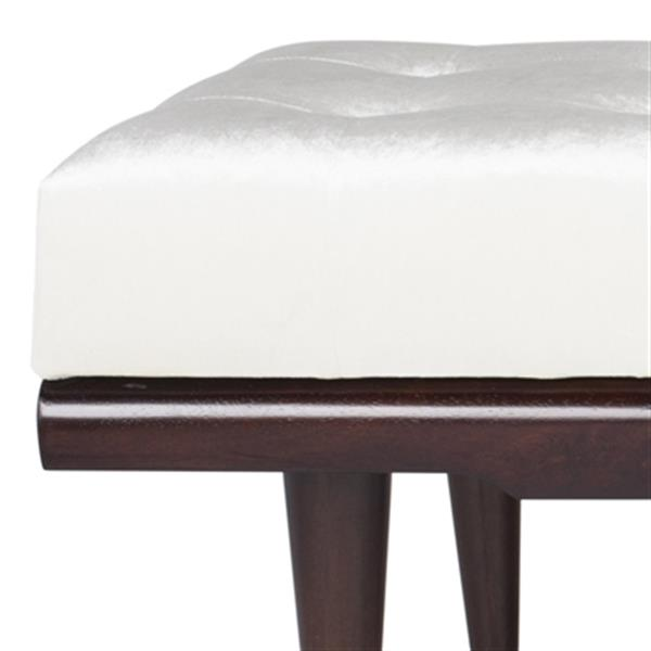 Safavieh Elita 60-in Beige Velvet Gold Cap Bench