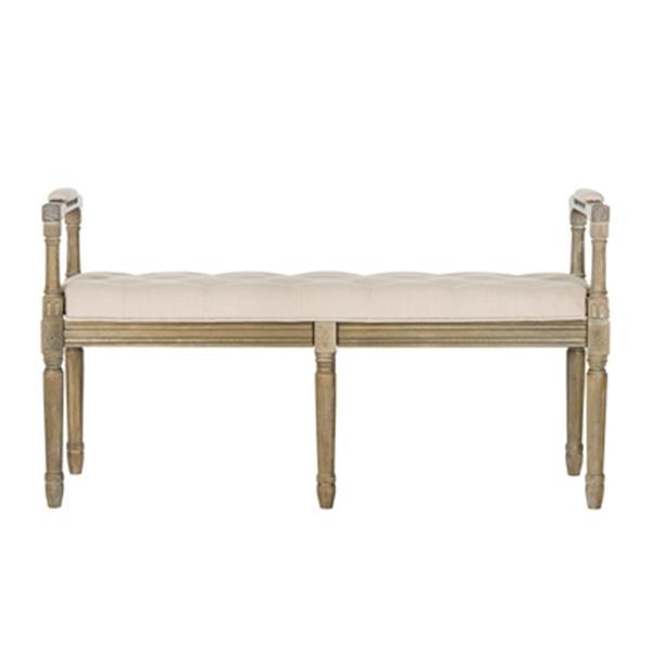 Safavieh Raiden 47.5-in Beige Fabric Rustic Oak Bench