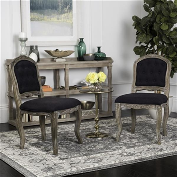 Safavieh Eloise 20.50-in Black Linen French Leg Dining Chairs (Set of 2)