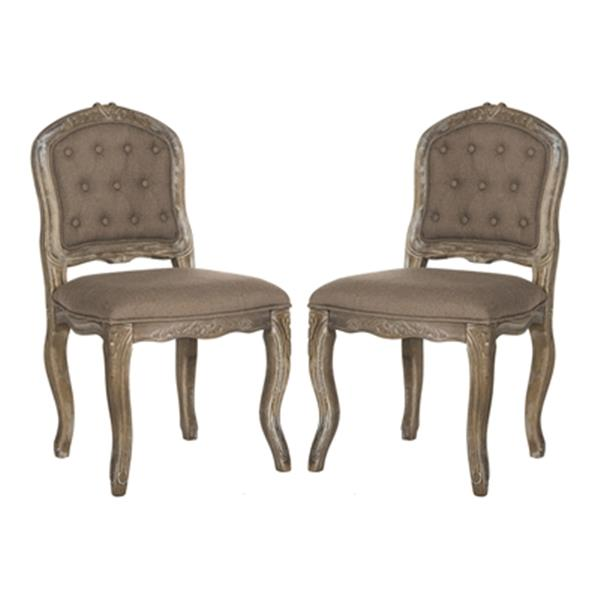 Safavieh Eloise 20.50-in Dark Brown Linen French Leg Dining Chairs (Set of 2)