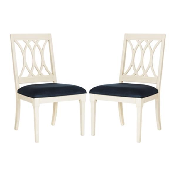 Safavieh Selena 20.50-in Navy Velvet Side Chairs (Set of 2)