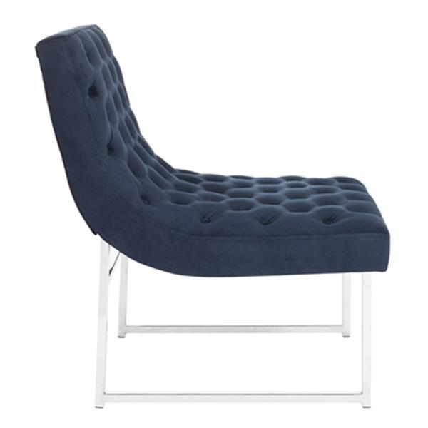 Safavieh Blue Hadley Velvet Tufted Accent Chair