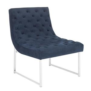 Safavieh Blue Hadley Velvet Tufted Accent Chair