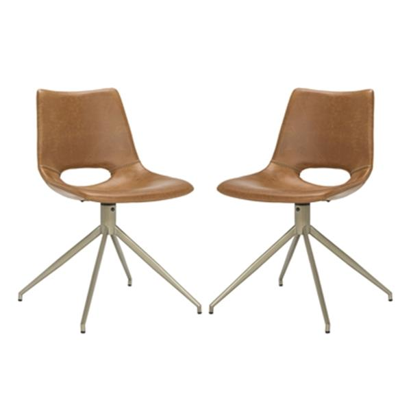 Safavieh Danube 31.89-in Light Brown Midcentury Modern Faux Leather Swivel Dining Chairs (Set of 2)