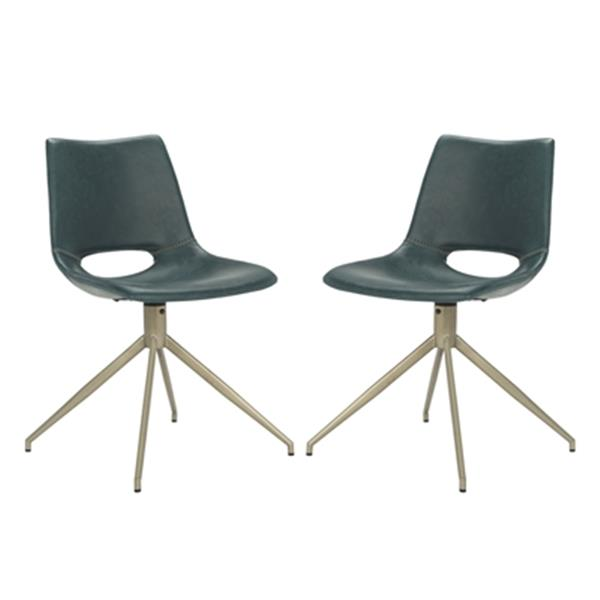 Safavieh Danube 31.89-in Blue Midcentury Modern Faux Leather Swivel Dining Chairs (Set of 2)