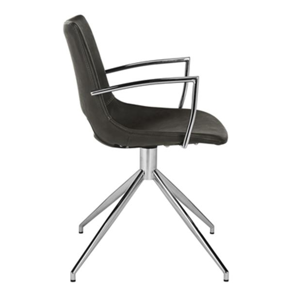 Safavieh Dawn 31.89-in Grey Midcentury Modern Faux Leather Swivel Dining Chairs (Set of 2)