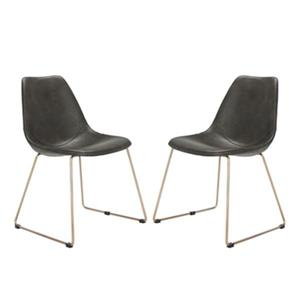 Safavieh Dorian 31.50-in Grey Midcentury Modern Faux Leather Dining Chairs (Set of 2)