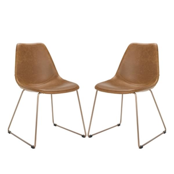 Safavieh Dorian 31.50-in Light Brown Midcentury Modern Faux Leather Dining Chairs (Set of 2)